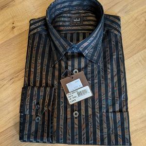 // Ike Behar Patterned Stripe Long Sleeve Shirt